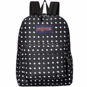 Jansport black polka dot backpack travel book bag